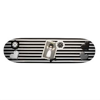 Black and White Stripes, Angel and Embellishments Skateboard