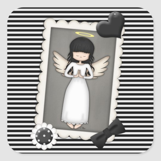 Black and White Stripes,  Angel and Embellishments Square Sticker