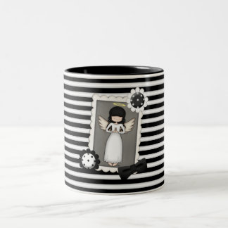 Black and White Stripes,  Angel and Embellishments Two-Tone Coffee Mug