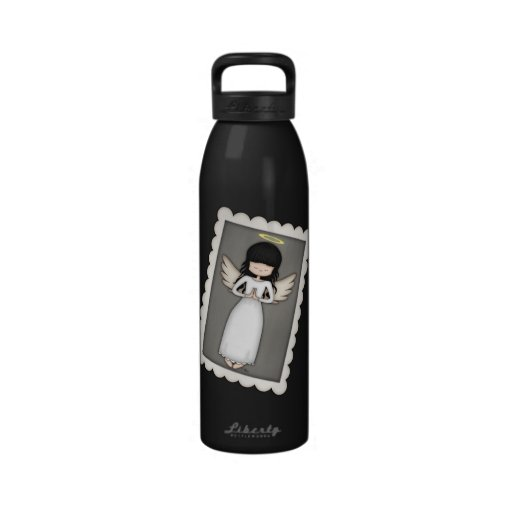 Black and White Stripes,  Angel and Embellishments Reusable Water Bottle