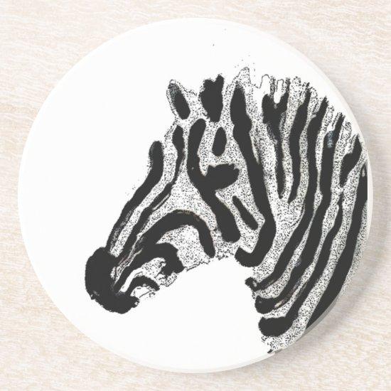Black and White Stripes Animal Print Zebra Drink Coaster
