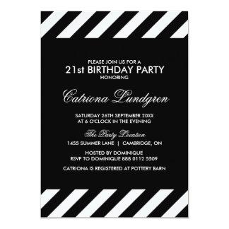 Black White Stripe Birthday Party Invitations Announcements Zazzle - Black and white striped birthday invitations