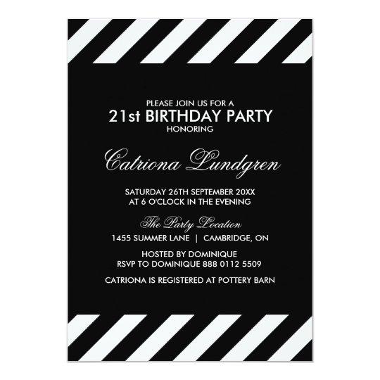 Black And White Stripes Birthday Party Invitation