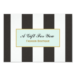 Black and White Stripes Boutique Gift Certificate Card