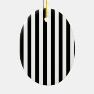 Black and White Stripes Ceramic Ornament