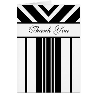 Black and White Stripes Chevrons Thank You Card