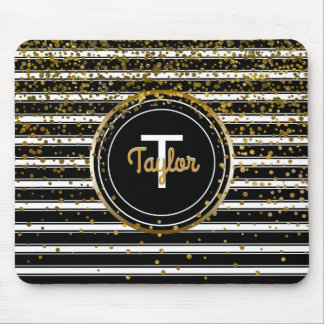 Black and White Stripes | Chic Gold Glam Confetti Mouse Pad