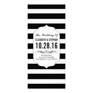 Black and white stripes chic wedding programs