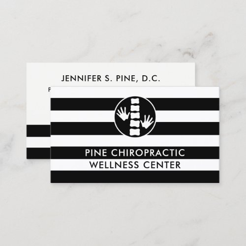 Black and White Stripes Chiropractor Doctor Business Card