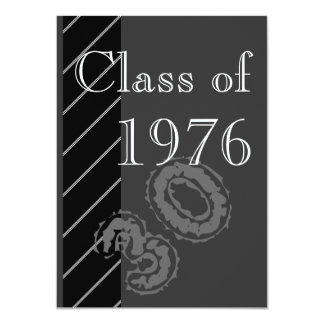 Black and white stripes Class reunion party Card