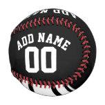 Black and White Stripes - Custom Name and Number Baseball