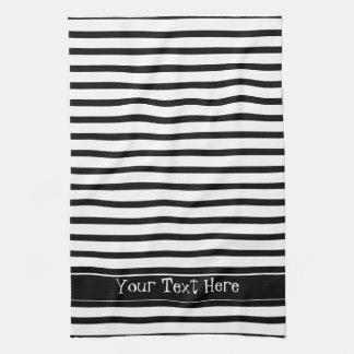 Black and White Stripes Customizable Kitchen Towel