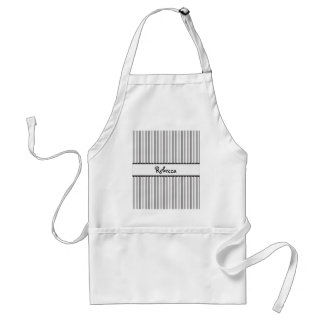 Black and White Stripes Dots Scallops Personalized Adult Apron