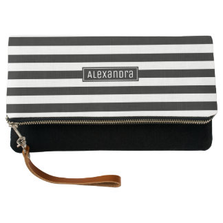Black and White Stripes Elegant Chic | Custom Name Clutch