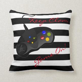 Black and White Stripes Gaming | Reversible Throw Pillow