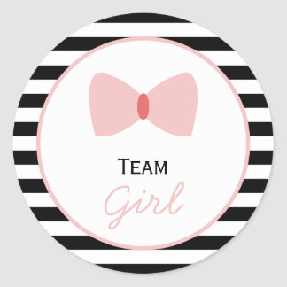 Black and white Stripes Gender Reveal  Bow Classic Round Sticker