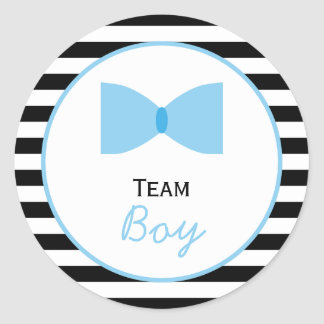 Black and white Stripes Gender Reveal  Bow Tie Classic Round Sticker