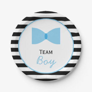 Black and white Stripes Gender Reveal  Bow Tie Paper Plate
