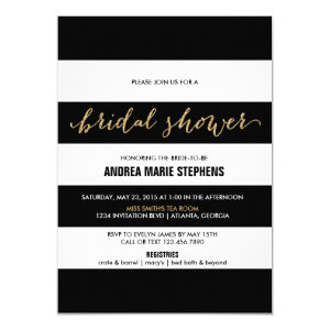 Black and White Stripes Gold Glitter Bridal Shower 4.5x6.25 Paper Invitation Card