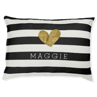 Black and White Stripes Gold Heart Large Dog Bed