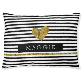 Black and White Stripes Gold Heart Pet Bed