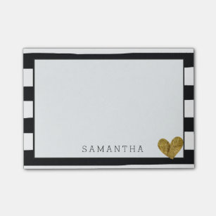 black and white stripes gold heart post it notes