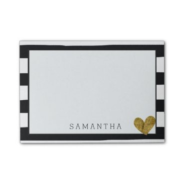 Valentines Themed Black and White Stripes Gold Heart Post-it Notes