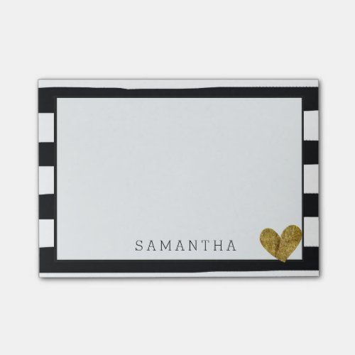 Black and White Stripes Gold Heart Post-it Notes
