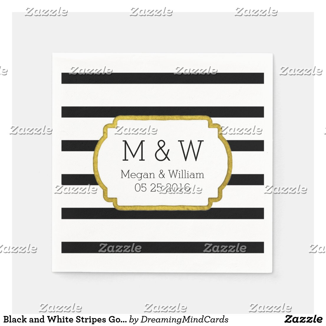 Black and White Stripes Gold Wedding Napkins