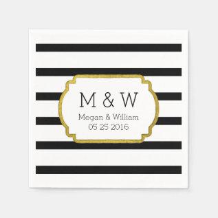 Black And White Stripes Gold Wedding Napkins at Zazzle