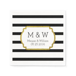 Black and White Stripes Gold Wedding Napkins