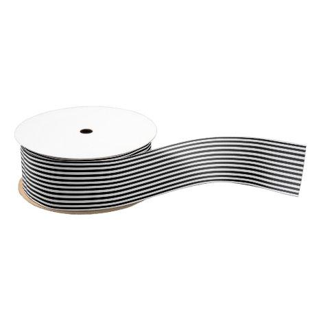 Black and White Stripes Grosgrain Ribbon