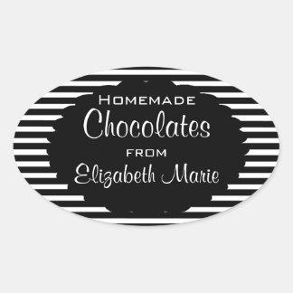 Black and White Stripes Homemade Oval Sticker