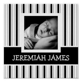Black and White Stripes Instagram Photo and Text Poster