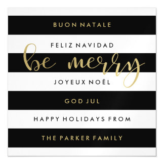 Black and White Stripes International Christmas Magnetic Card