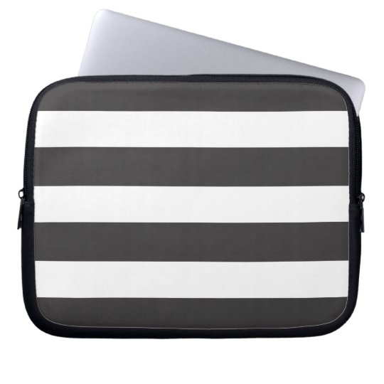 Black and White Stripes Laptop Sleeve 10""