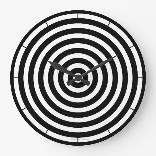 Black and White Stripes Large Clock