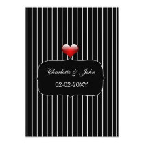 Black and White Stripes Modern Wedding Card