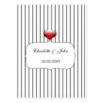 Black and White Stripes Modern Wedding Postcard