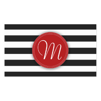 Black and White Stripes Monogram Business Card