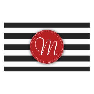 Black and White Stripes Monogram Business Card