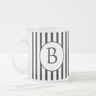 Black and White Stripes Monogram Frosted Glass Coffee Mug
