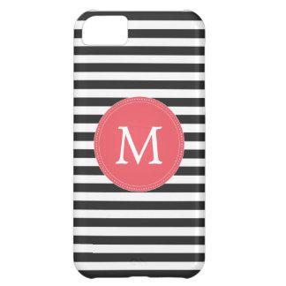 Black and White Stripes Monogram Iphone 5c Case