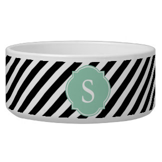 Black and White Stripes Monogram Large Dog Bowl