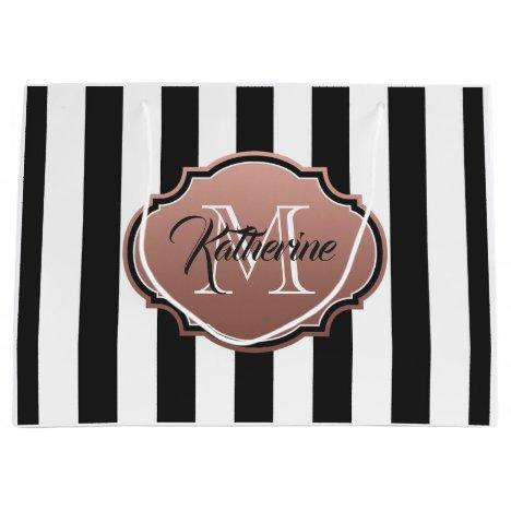 Black and White Stripes Monogram Large Gift Bag