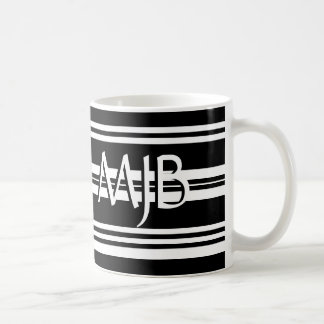 Black and White Stripes Monogram Mug