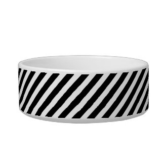 Black and White Stripes Monogram Small Dog Bowl