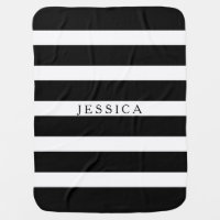 Black And White Stripes Monogramed Stroller Blanket