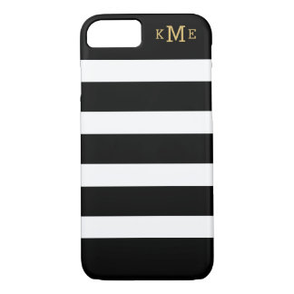 Black and White Stripes | Monogrammed iPhone 7 Case