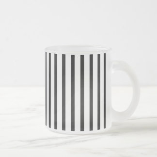 Black and White Stripes 10 Oz Frosted Glass Coffee Mug